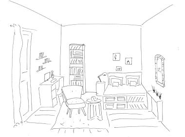 Perspective à main levée pour chambre d'étudiante, ambiance scandinave, choix de mobilier, accessoires, matériaux