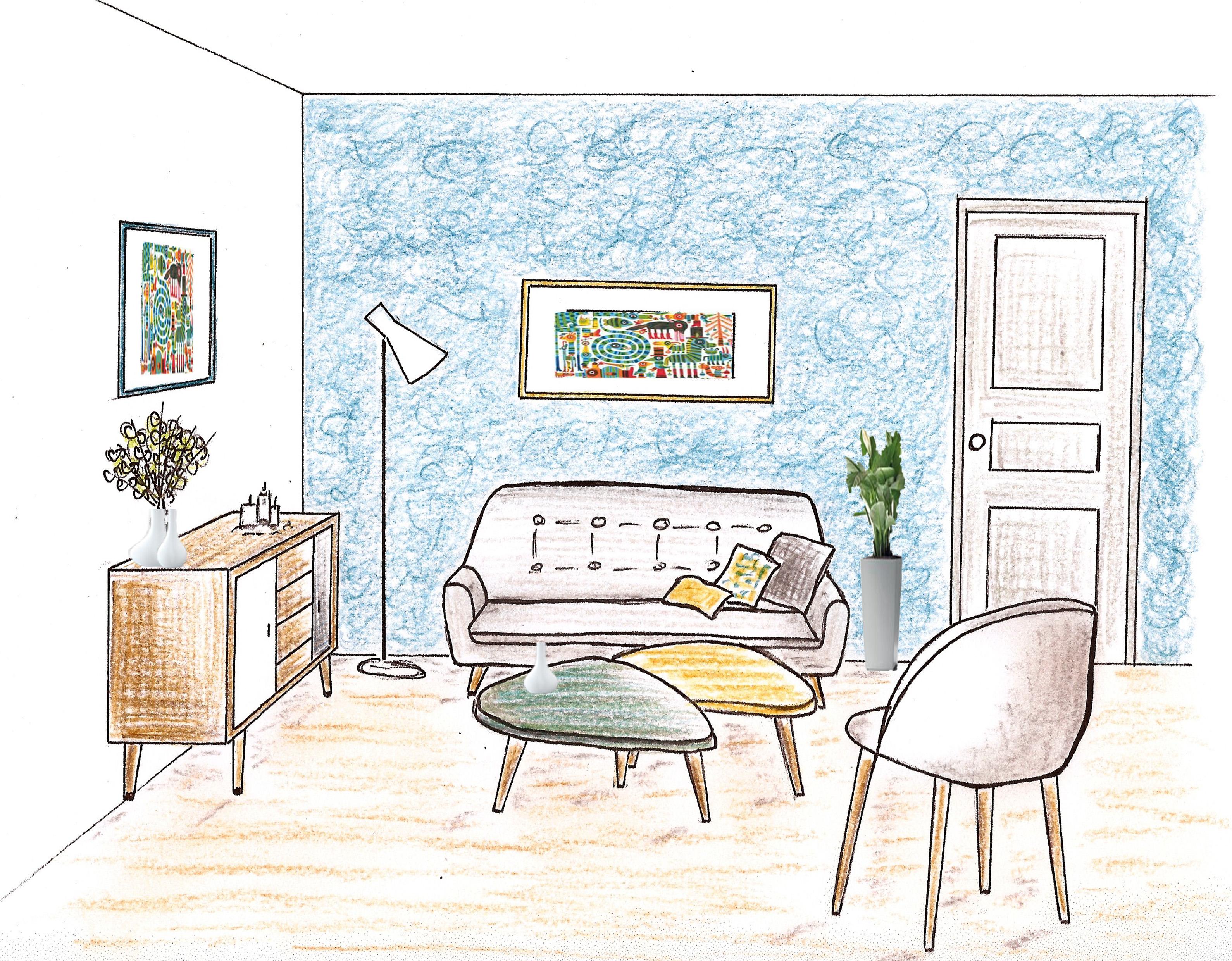 salon ann es 50 crayon copier d co couleurs. Black Bedroom Furniture Sets. Home Design Ideas