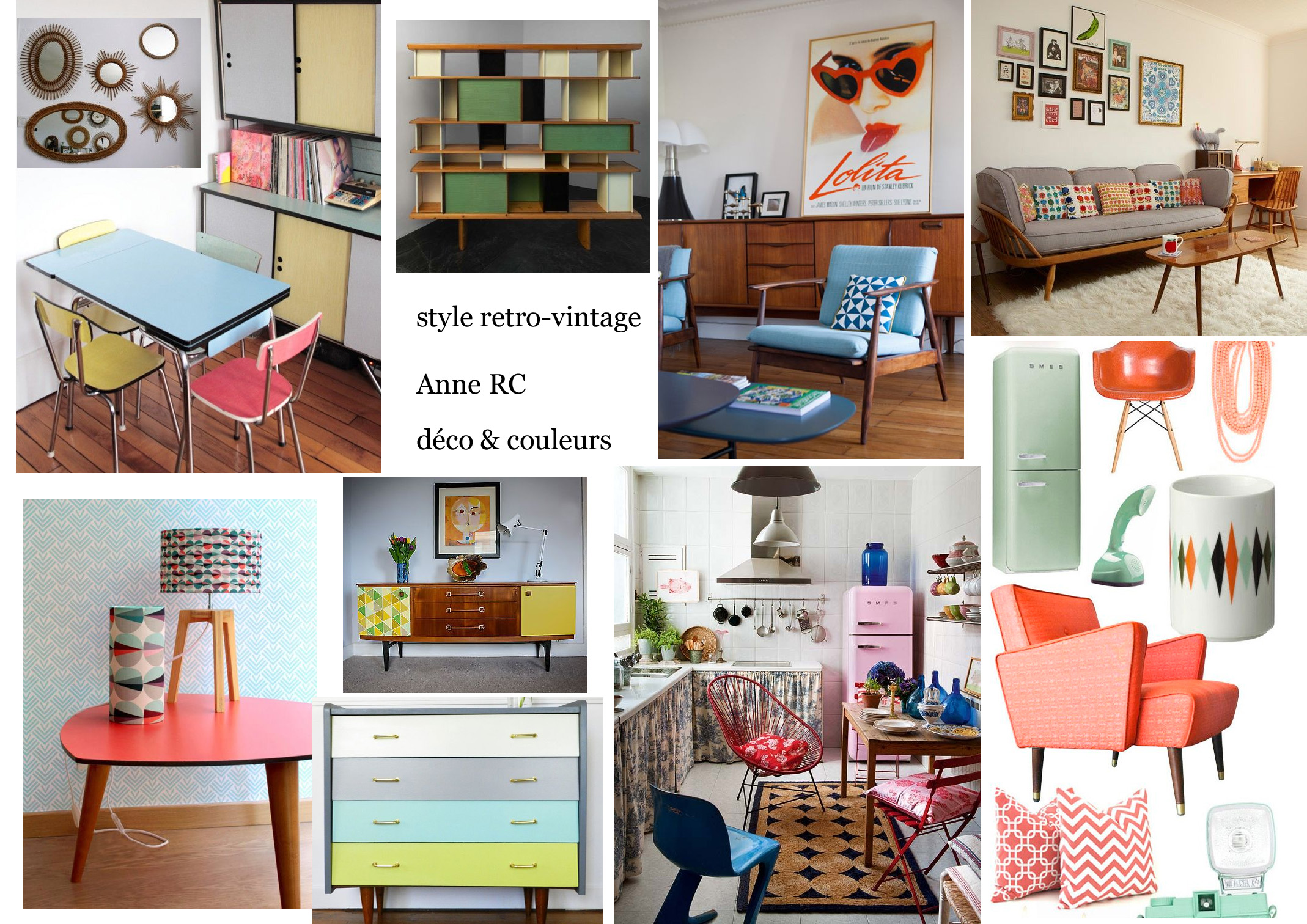 Style r tro vintage copier d co couleurs - Planche d ambiance ...