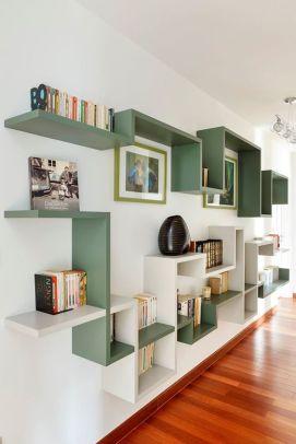 Etagères bibliothèque design vertes et blanches