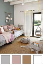 Chambre naturelle, camaieux de gris et roses