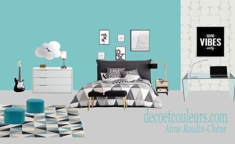 Chambre ado bleue