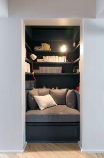 Salon bibliothèque gris anthracite