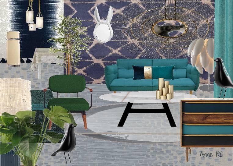 Salon et cuisine en camaieux de bleus décalé et contemporain